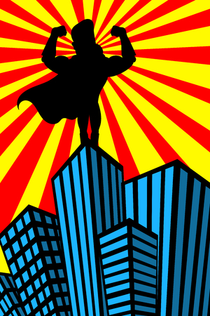 superpowers: Silhouette of superhero man showing his muscles on top of skyscraper watching over the city