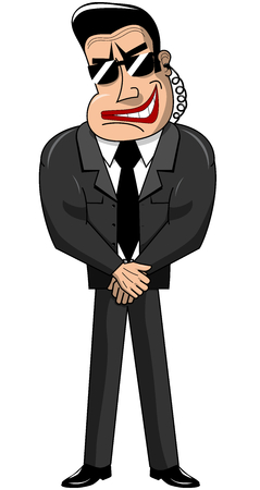 brawny: Security guard standing arms crossed in black suit isolated