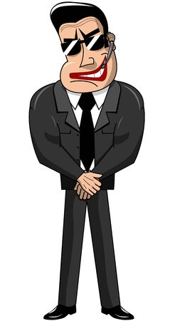 threaten: Security guard with microphone standing in black suit isolated Illustration