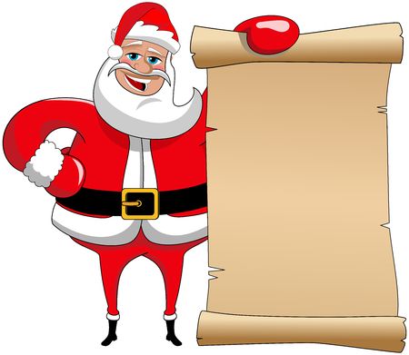 old parchment: Cartoon funny santa claus holding old parchment Illustration