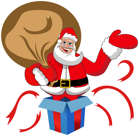 coming out: Santa Claus suck big coming out from gift box isolated Illustration