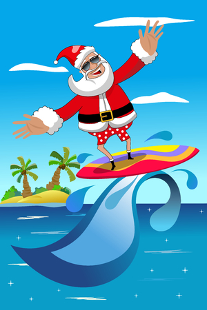 tropical beach panoramic: Santa Claus surfing in tropical sea with surfboard