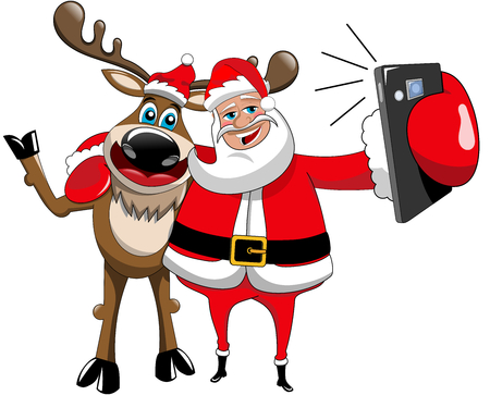 Reindeer and santa claus hugging and taking selfie isolated