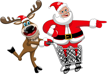 indicating: Reindeer running and pushing cart with inside Santa Claus indicating isolated