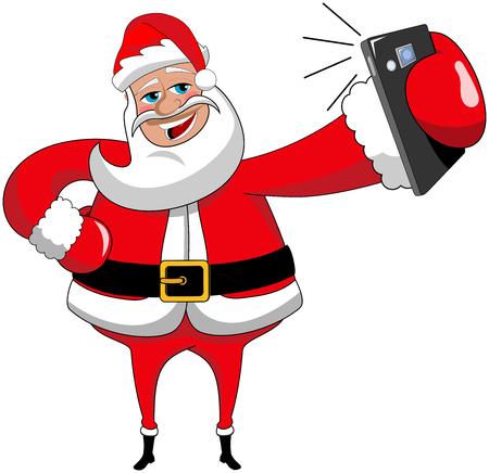 Cartoon Santa Claus het nemen van selfie met smartphone geïsoleerde