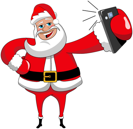 Cartoon santa claus taking selfie with smartphone isolated