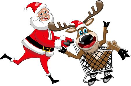 running off: Happy Santa Claus running and pushing cart with reindeer inside isolated Illustration