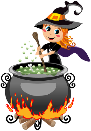 Cute halloween witch preparing potion in the calderon isolated Stock Illustratie