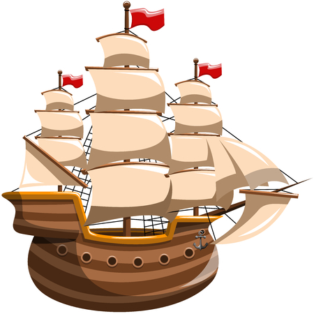 sailing vessel: Sailing Boat Isolated Illustration