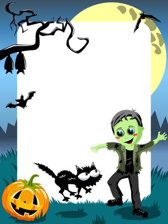 Halloween Photo Frame Kid Green Monster