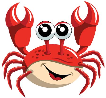 Crab Gelukkig Cartoon geïsoleerd