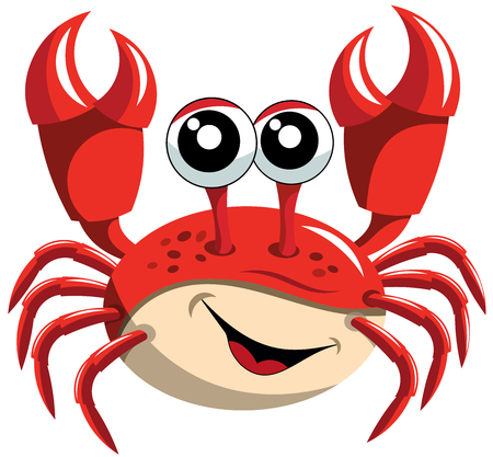 Happy Cartoon Crab Isolated Çizim
