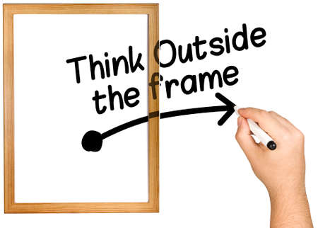 differently: Hand Writing Think Outside the Frame on Whiteboard