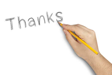 acknowledgment: Thanks hand writing with pencil on white