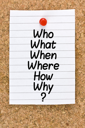 when: Who What When Where Why Questions Stock Photo