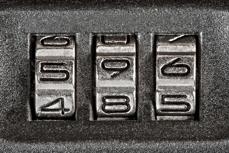 secret code: Close up of secret code on baggage Stock Photo