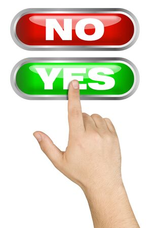 yes button: Hand made a choice pushing big green yes button isolated Stock Photo
