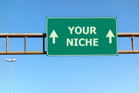 niche: Your niche text on green road sign