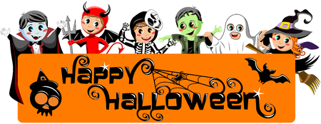 Happy Halloween Banner with kids in costume isolated