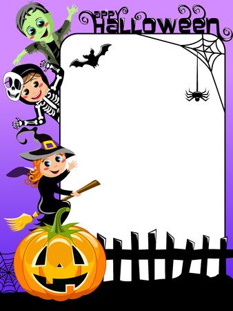 Vertical Halloween Frame with children in costume