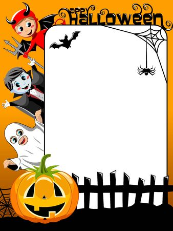 Vertical Halloween Frame featuring kids in costume pumpkin bat and spider