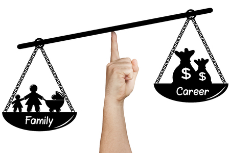 unequal: hand holding drawn silhoette weighing scales family versus career isolated