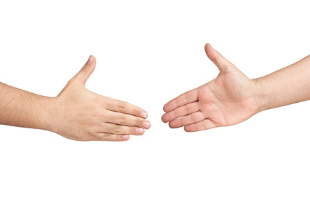 Hands are about to handshake isolated Stock Photo