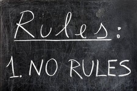 anarchism: No rules handwritten with white chalk on blackboard dirty