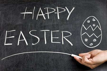 underscore: hand with white chalk underlining handwritten Happy Easter text on dirty blackboard