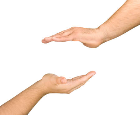 opposed: Two male and opposed cupped hands in a gesture care for something to put between Those isolated