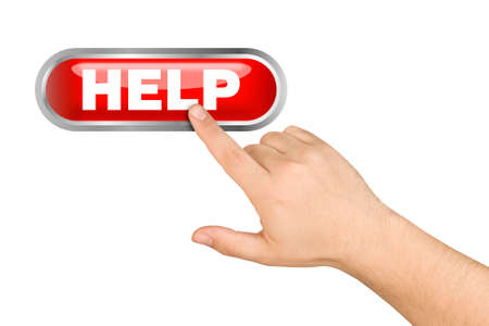 help button: Hand pushing help button isolated