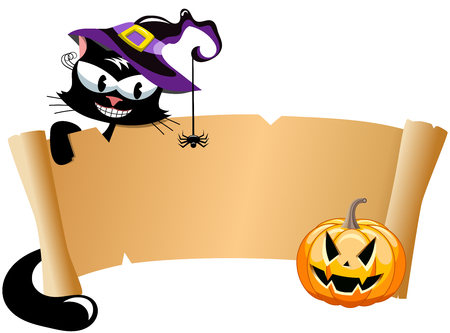hallowen: Smiling black cat wearing witch hat behind scroll banner at hallowen