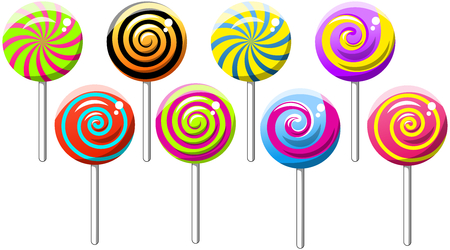 lollipops: Collection of Spiral Swirly Lollipops isolated