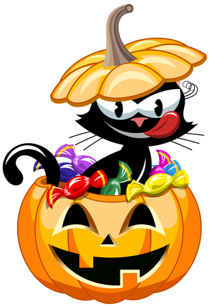 gluttonous: Greedy Black Cat inside halloween bucket full of sweets Illustration