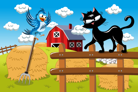 tentative: Cartoon cat hunting bird at the farm