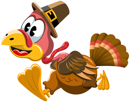 running late: Cartoon turkey with pilgrim hat in a hurry isolated