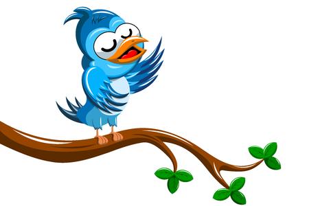 tweeting: Cartoon Bird Singing on Tree Branch isolated