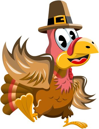 Cartoon turkey with pilgrim hat waving isolated