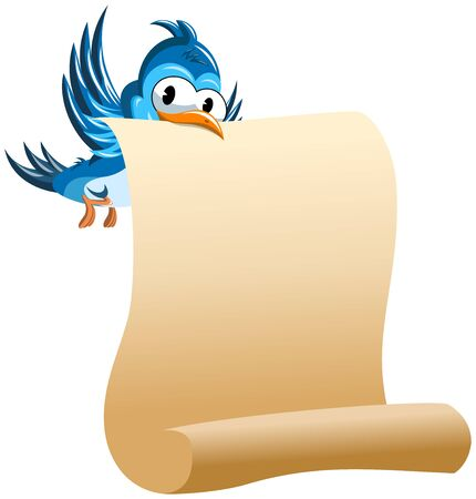cartoon banner: Cartoon Bird holding with beak blank scroll paper isolated Illustration