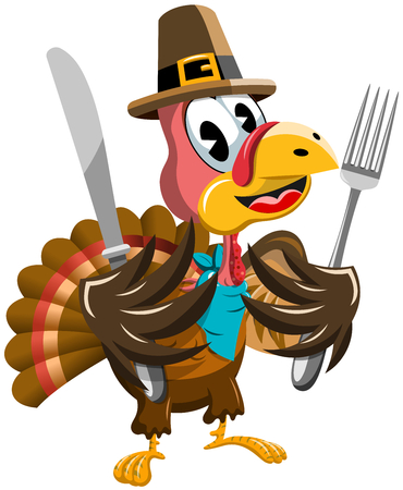 Thanksgiving Cartoon Turkey holding fork and knife isolated