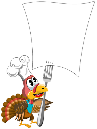 forked: Cartoon Thanksgiving Turkey with cook hat looking at recipe forked blank paper isolated