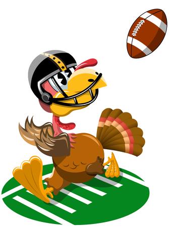 Thanksgiving Turkey Playing American Football Illustration