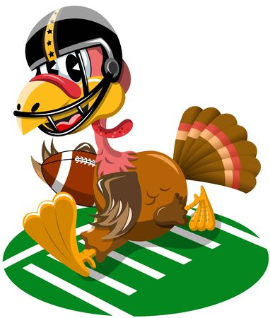 Thanksgiving Turkey playing American Football isolated