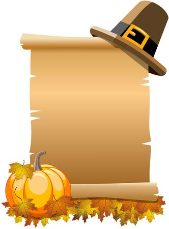 pilgrim hat: Blank Thanksgiving or Parchment Scroll with pilgrim hat on top and pumpkin with leaves at bottom isolated Illustration