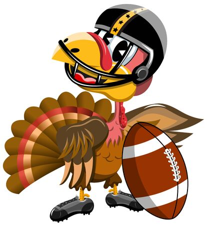 invitando: Thanksgiving Turkey inviting to Playing American Football isolated