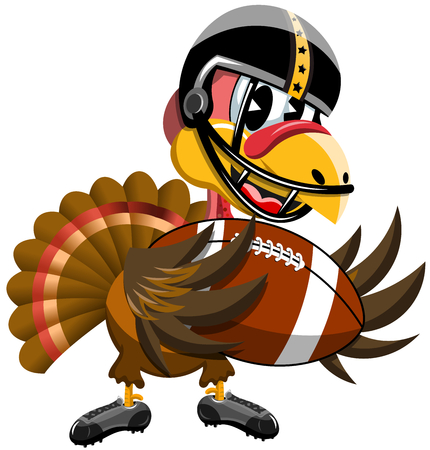 Thanksgiving Turkey holding American Football ball isolated