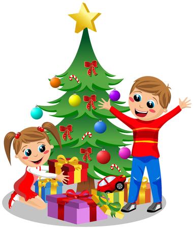 다음 크리스마스 트리 격리을에 크리스마스 선물을 열고 행복 한 아이 일러스트
