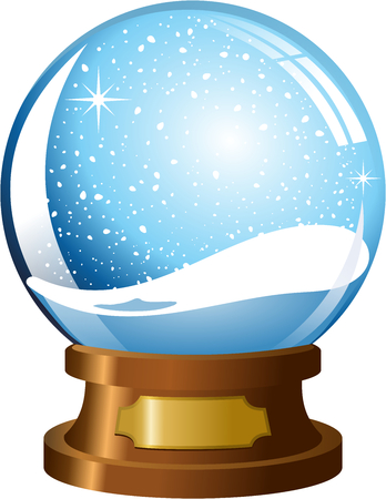 snowdome: Empty snowglobe with snowfall isolated Illustration