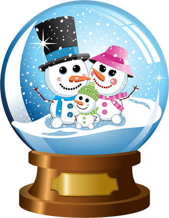 inside snowglobe with a happy snowman family under snowfall isolated Illustration