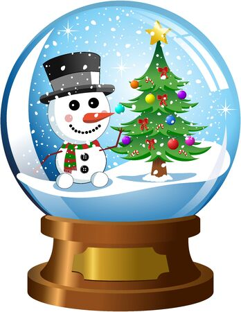 snowdome: inside snowglobe with snowman and christmas tree under snowfall isolated